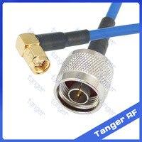 n תקע זכר לזכר sma מחבר זווית ישר עם rg402 כבל rg141 RG-402 קואקסיאלי jumper כחול 8 inch 8 20 סמ הפסד נמוך rf לשדל