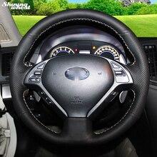 BANNIS-couverture de volant en cuir noir   Cousu à la main, pour Infiniti QX50 G25 G35 G37 EX25 EX35 EX37 2008-2013