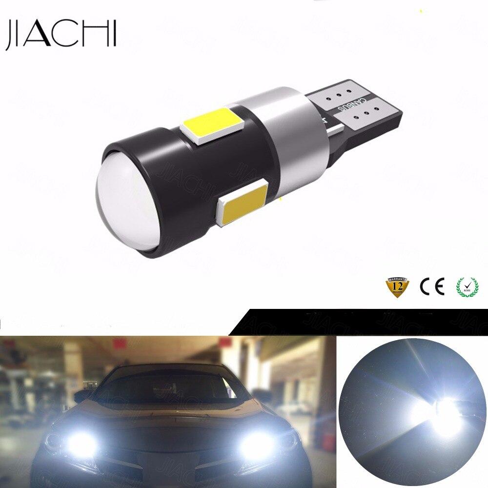 JIACHI 50 Uds T10 W5W 194 bombilla de señal de giro sin Error Canbus Auto luz de techo de lectura Interior cuña de estacionamiento lateral lámpara de freno inverso