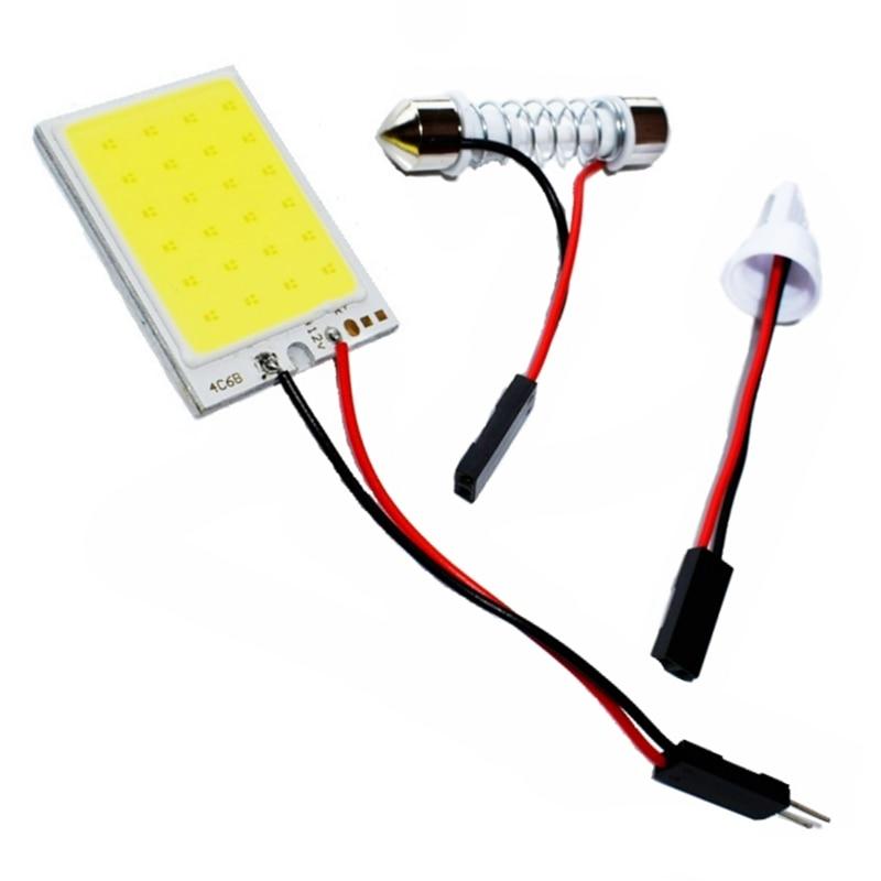 T10 Adapter Festoon Base COB LED Panel Bulb 24 SMD Car Dome Light Auto Interior Map Roof Reading Lamp Super White DC 12V