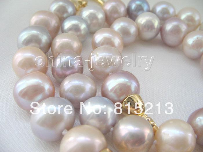"""Collar redondo multicolor de perlas de agua dulce A1243 AAA + 18 """"12mm 28% de descuento (A0322)"""
