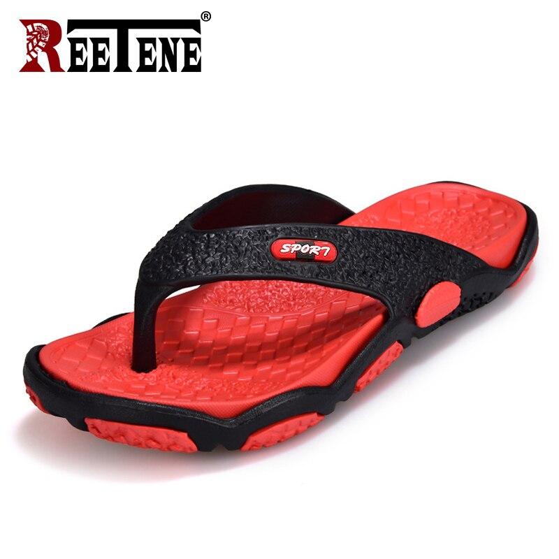 Reetene sapatos masculinos de alta qualidade para chinelos masculinos plus size 39-45 moda verão chinelos ao ar livre sapatos casuais macios