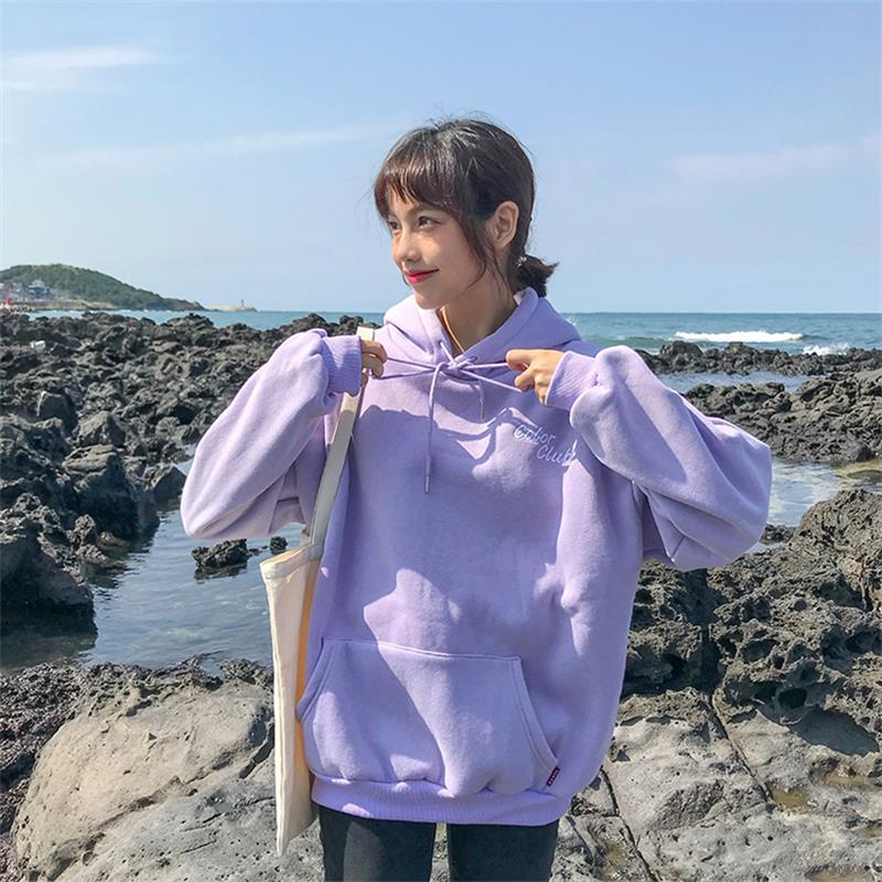 Candy Embroidery Letter Hooded Sweatshirt Female Korean Kawaii Women's Sweatshirts Japanese Harajuku Ulzzang Clothing For Women