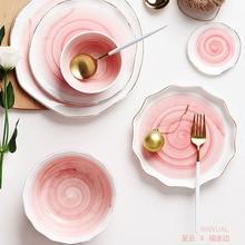 Assiette de dîner en céramique incrustation dor Snack plats de luxe or bords plaque vaisselle cuisine plaque noir blanc plateau vaisselle ensemble