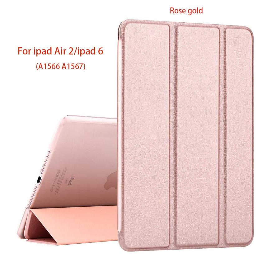 Capa inteligente para ipad air 2, capa protetora, magnética, fina, couro pu, auto dormir, acordar, capas duras para ipad 6 a1566 a1567