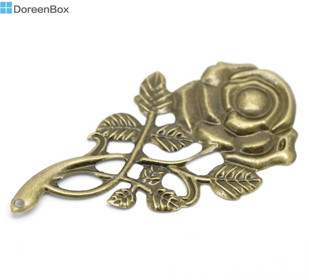 "Doreen Box encantadora 30 antiguo bronce filigrana colgantes de flores color de rosa adorno conclusiones 7,7x4,2 cm(3 ""x1-5/8"") (B18538)"