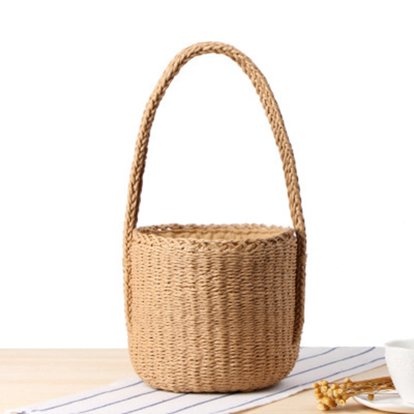 Nuevo bolso tejido de cuerda de papel de dos asas, pañuelo cilíndrico de color sólido, bolso de paja, bolso retro de vacaciones, bolso de playa
