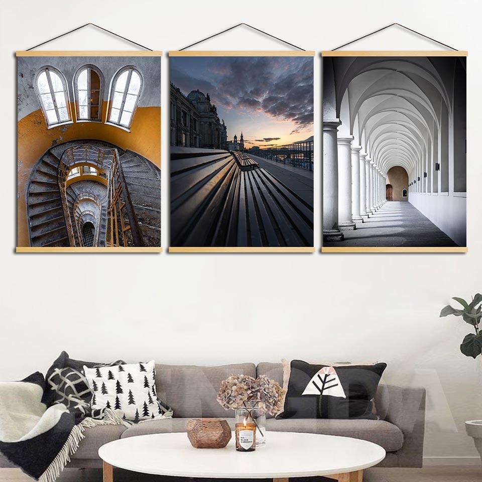Lienzo con imagen impresa, decoración del hogar, escaleras nórdicas, paisaje de montaña, rollo de madera, pintura colgante para pared de salón, Póster Artístico