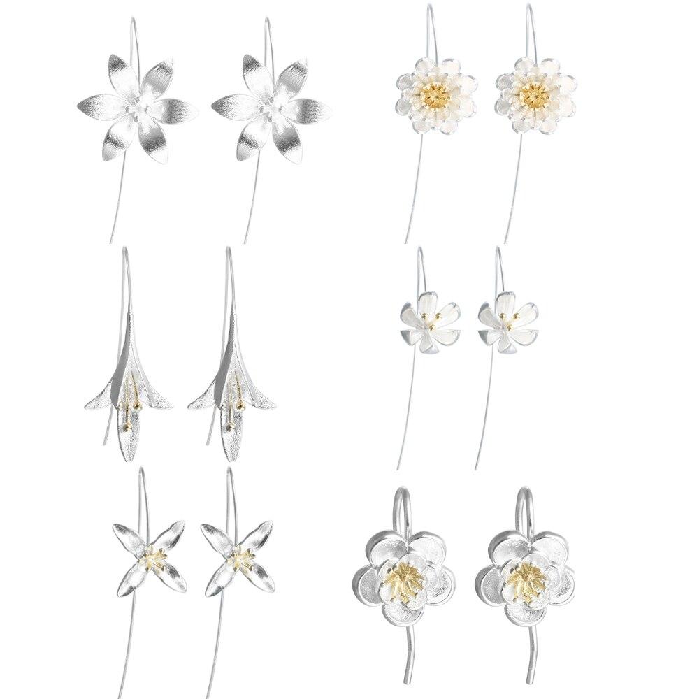 CHENGXUN 6 par/set nueva moda boda flor colgante gota pendientes joyería coreana bisutería elegante fiesta regalo