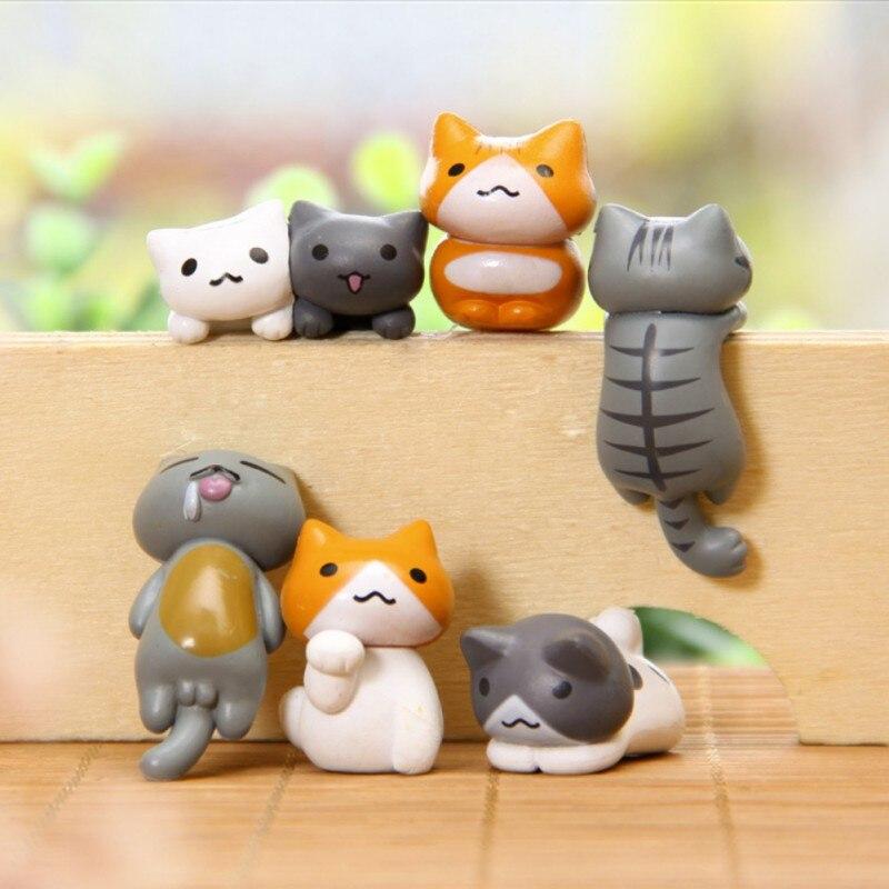 6 unids/lote encantador gato DIY paisaje Micro-bonsai carne adornos jardín adornos de Micro paisaje Oficina decoración del hogar