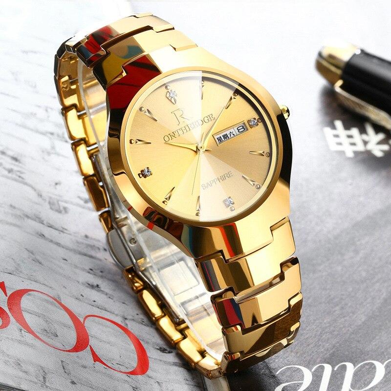 luxury gold men tungsten steel quartz watch ONTHEEDGE brand man watch waterproof Business men's Wristwatch Diamond