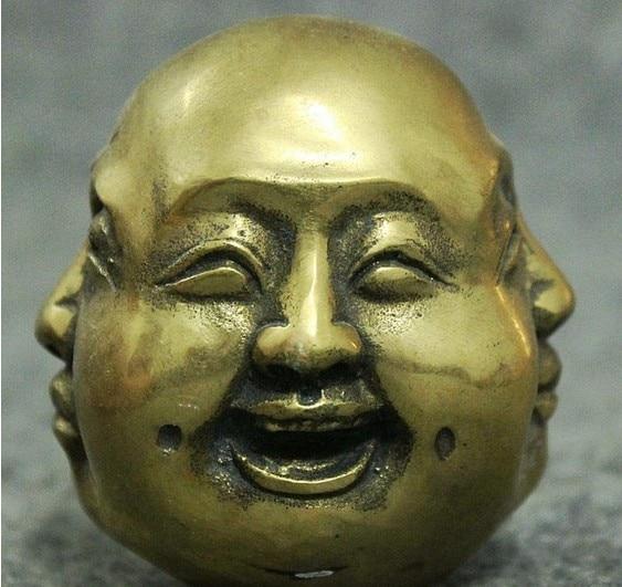 Estatua YM 316 China de latón para budismo 4 cara Xi Nu Ai Le Maitreya Buda cabeza