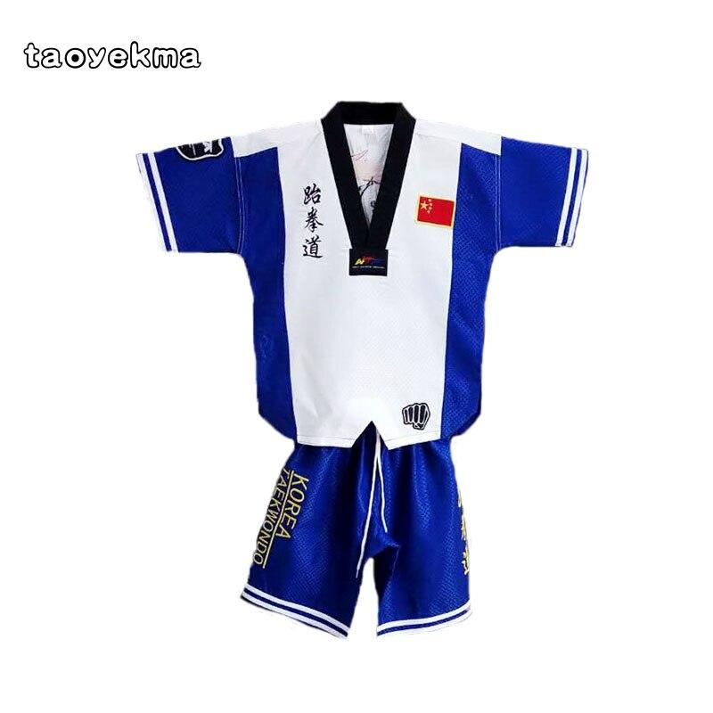 Alta calidad Taekwondo dobok TKD algodón y uniforme de fibra de bambú serie ITF de niños Taekwondo ropa de manga larga T10