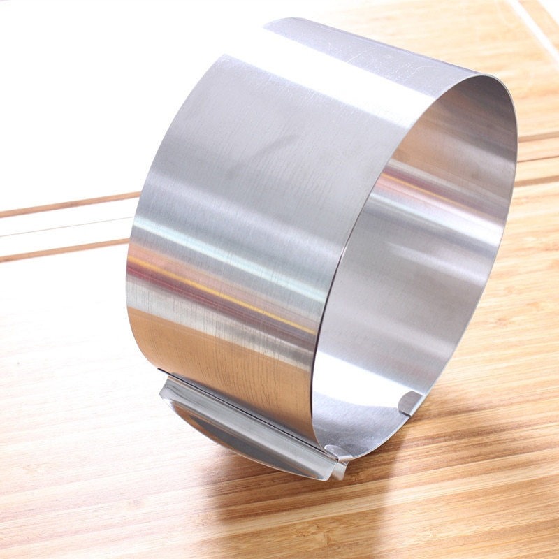 נשלף נירוסטה מעגל קצף טבעת עוגת אפיית כלי סט גודל צורת בישול מתכוונן כסף עבור מטבח כלים