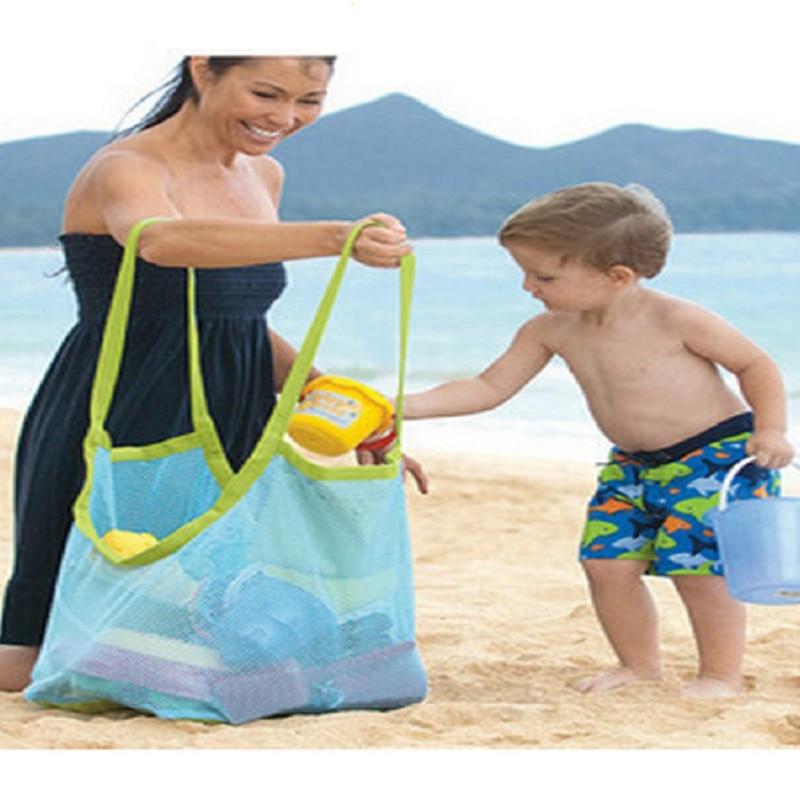Bolsa de almacenamiento de juguetes portátil de gran capacidad para bebé, Red de playa, deportes, playa, natación, Playa