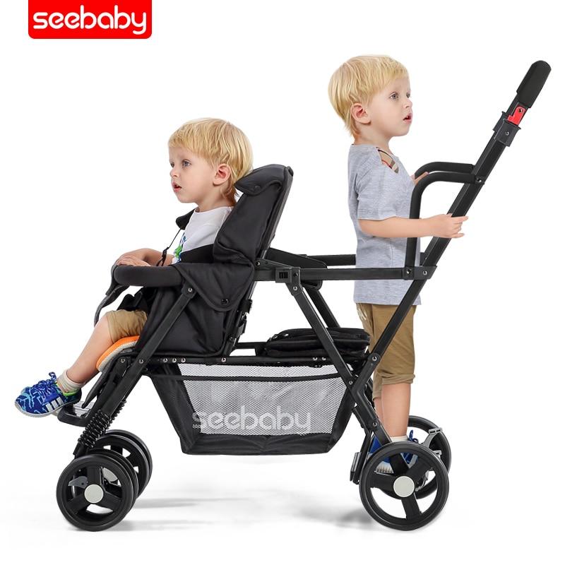 Cochecito doble bebé recién nacido Transporte 1 cochecito de bebé 2 en 1 bebé carro sistemas de viaje múltiples cochecito de cuatro ruedas de cochecito