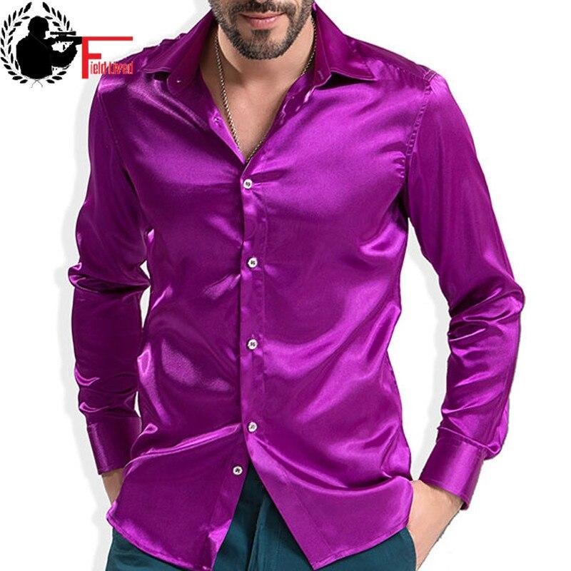 2020 Fashion Shiny Satin British Style Dress Shirt Luxury Silk Like Long Sleeve Mens Casual Shirt Performance Clothing Wear Male