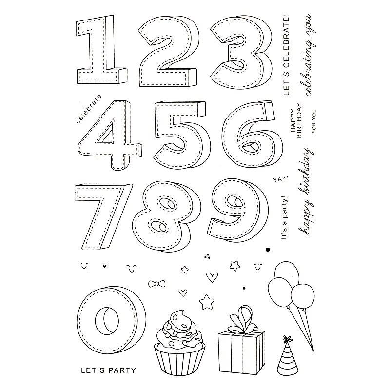 Vamos de fiesta Feliz cumpleaños YAY Scrapbook DIY tarjetas cuenta sello de goma claro sello transparente sello hecho a mano tarjetas de sello