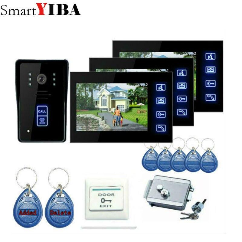 "SmartYIBA 3 house 7"" Color TFT LCD Video Intercom Door Bell Phone Dual-way Video Intercom with 5pcs RFID ID Card"