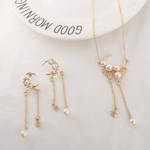 Nouveau mode exquis lune gland pendentif longue perle brillant Boho fête élégant collier Glamour Swing boucles doreilles pour les femmes bijoux