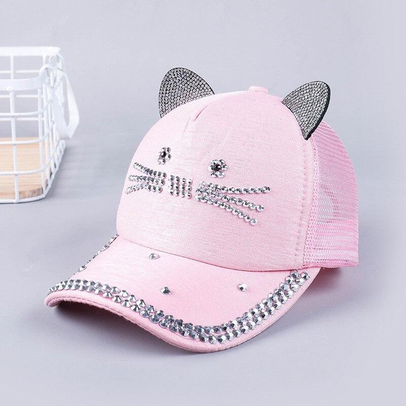 Unisex gorra de béisbol niños orejas de gato remaches sol Cowboy sombrero Snapback Rhinestones diamante Cap para niños niñas Casual Cap Bone Gorro