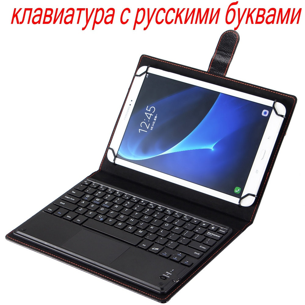 Capa + Removível Teclado para Samsung Tab a 10.1 Leather Case Suporte Bluetooth Touchpad Russo – Hebraico Espanhol Galaxy P580 P585 pu
