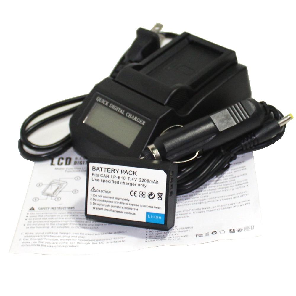 2 Pcs 7.4 v 2200 mAh Bateria Bateria LP-E10 lp e10 LPE10 + LCD Rápido carregador para Câmera Canon 1200D 1100D BEIJO X50 Rebel T3 T5 X70