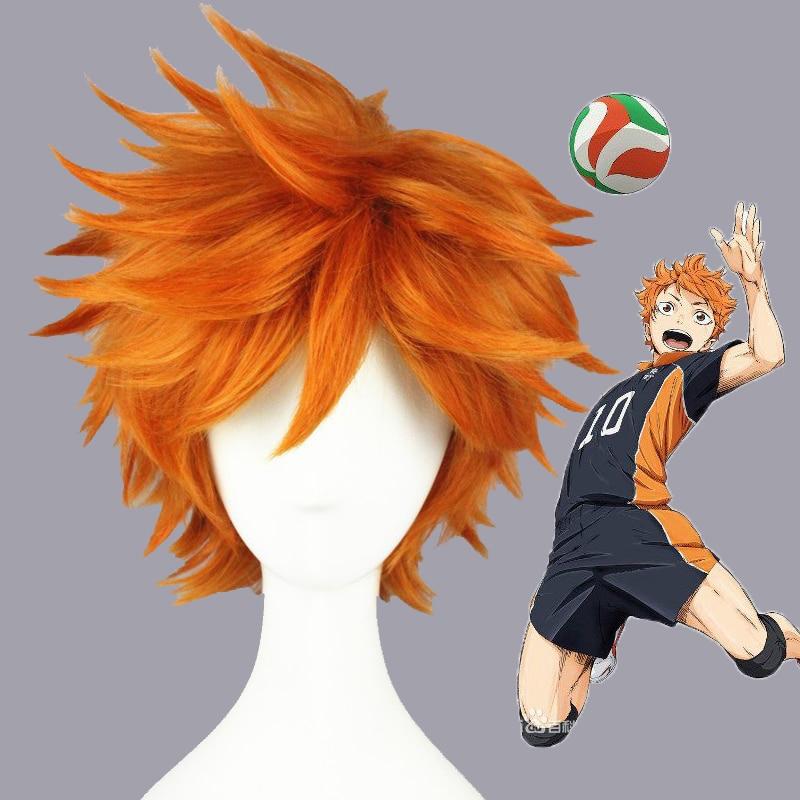 Anime Haikyuu de alta calidad Hinata Syouyou Cosplay peluca corta naranja rizado resistente al calor pelucas de pelo sintético + peluca Cap