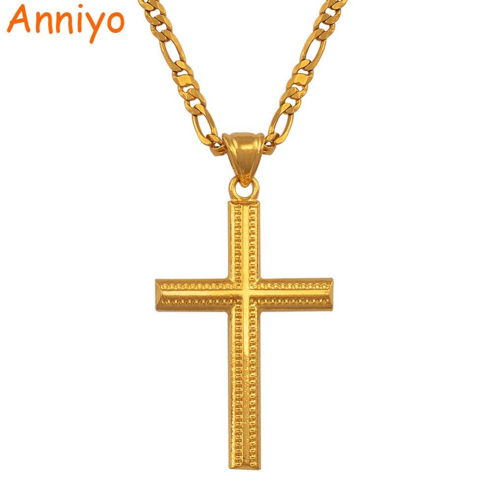 Anniyo Frauen Kreuz Gold Farbe Charms Anhänger Halskette für Männer Mode Christian Schmuck Fabrik Großhandel Kruzifix Gott #066102