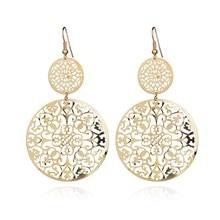 Delicate Retro Hollow Filigree Dangle Patterned Disc Drop Earrings Fashion Jewelry For Women
