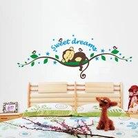 Singe doux reve mur decalcomanie enfants chambre mur lettrage Art mots autocollant mural decor a la maison decoration salon