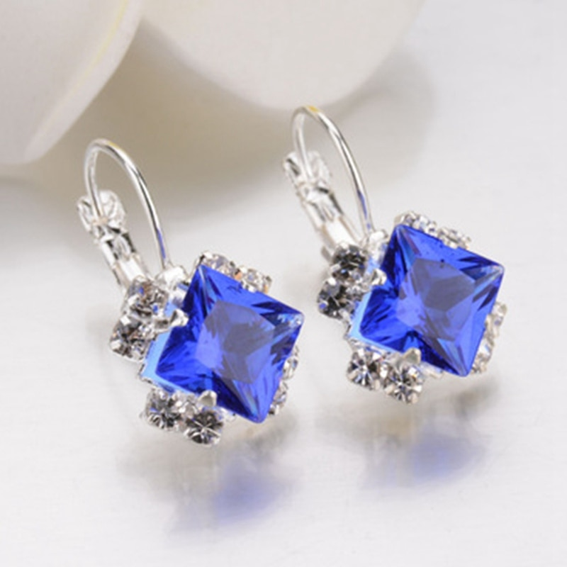 Fashion Silver Color Square Dangler Earrings Purple Red Blue Black Austrian Crystal Rhinestone Earring For Women Wedding Jewelry