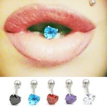 1PC kobiety Sexy Tongue Piercing urok AAA cyrkon serce język pierścienie stal nierdzewna język sztanga śmieszne ciało biżuteria dla dziewczyn