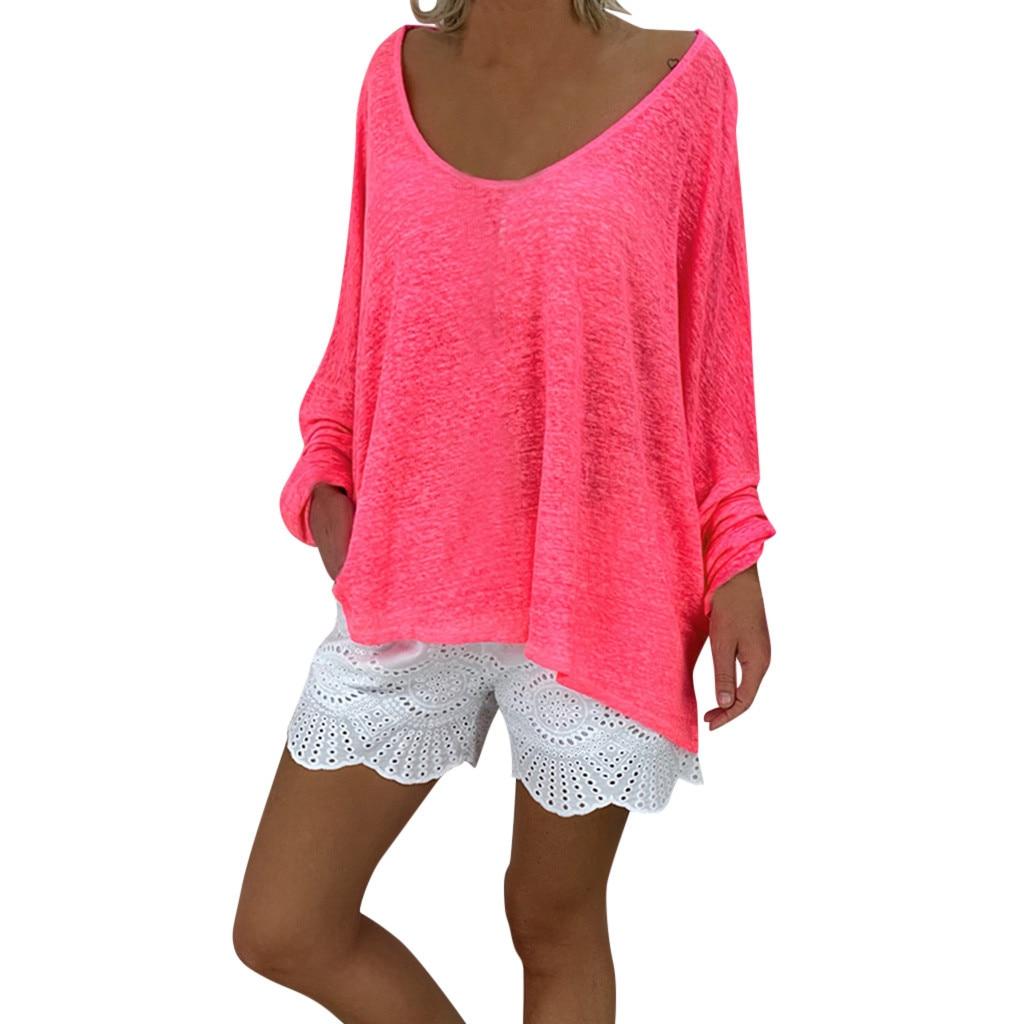 Футболка женская Весенняя модная ярко-розовая рубашка с круглым вырезом и длинными рукавами из полиэстера 19July16 P30
