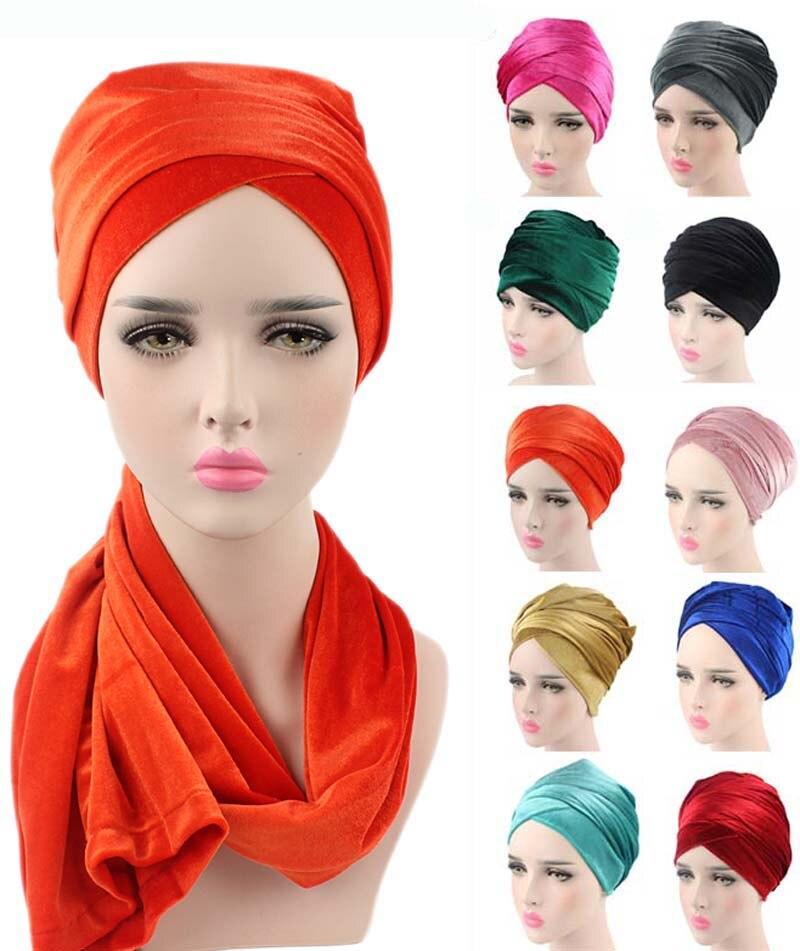 Новый Модный женский роскошный плиссированный вельветовый тюрбан, повязка на голову, очень длинная трубка, индийский платок на голову, шарф