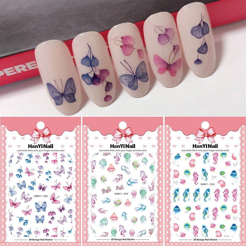 1pcs ocean series 3d nail art sticker Seahorse Jellyfish flower pattern nail decal Adhesive Sticker Decals Nail Decoration DIY