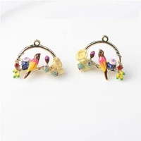 2pcslot creative alloy pendent ornaments jewelry accessories diy enamel hanging buttons for earrings earrings chokernecklaces