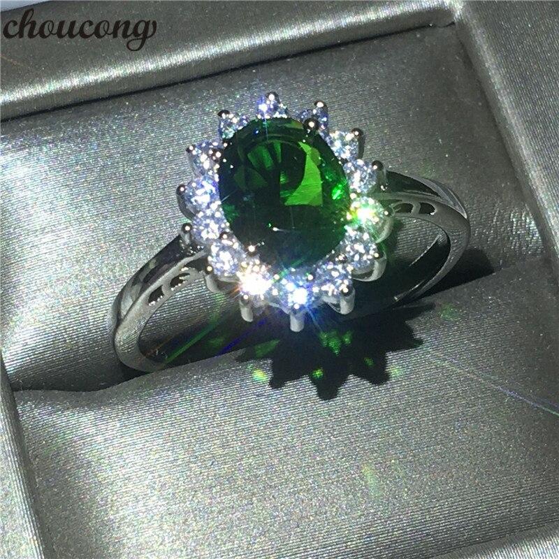 Anillo Diana princesa choucong 2ct AAAAA Zircon Plata de Ley 925 100% auténtica anillos de compromiso de la banda de la boda para Mujeres Hombres Bijoux