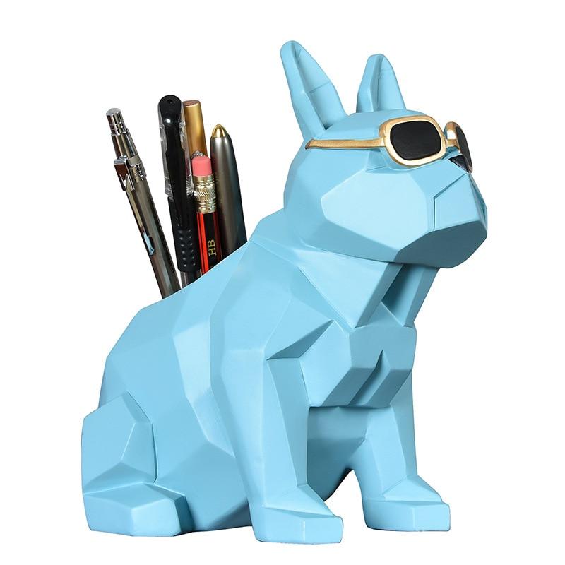 Geometría Bulldog pluma caso perro pluma soporte estatuilla estatua Animal arte escultura resina artesanía decoración del hogar Accesorios R224