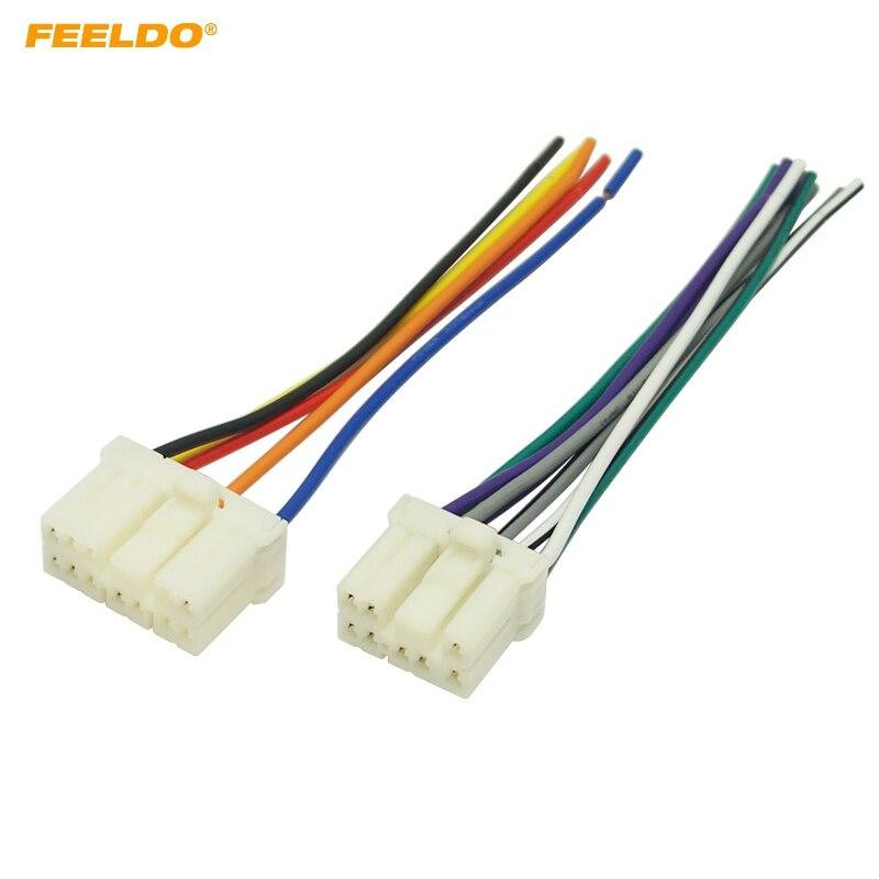 FEELDO 6 pares de arnés de cables de audio de Radio de coche Aapter enchufe macho para Geely Emgrand Primal Suzuki Cable de altavoz estéreo # MX4213