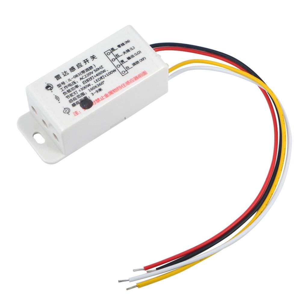1PC New AC220V Switch Microwave Radar Body Sensor Switch Light Control Switch Delay Distance Is Adjustable Sensors