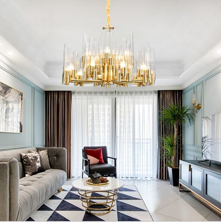 ثريا زجاجية بسيطة ما بعد الحداثة ، مصباح يدوي إبداعي ، نمط فيلا ، شريط طويل ، غرفة معيشة ، غرفة طعام
