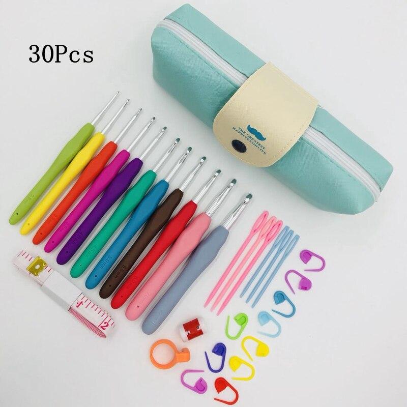 Conjunto de ganchos de ganchillo Premium con estuche conjunto de ganchos de ganchillo agujas con mangos suaves ergonómicos marcadores de punto herramientas de costura conjunto para regalo
