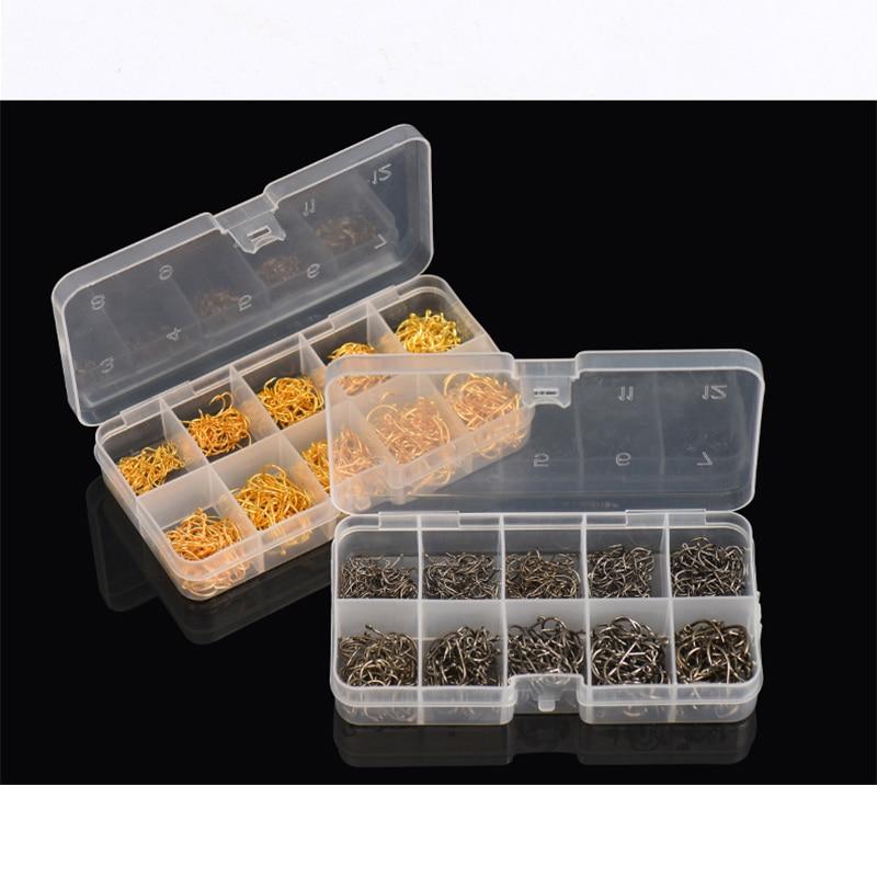 Рыболовный крючок из углеродистой стали, прочные рыболовные крючки, пластиковая коробка в упаковке, 600 шт./кор. 3 #-12 #10 размеров