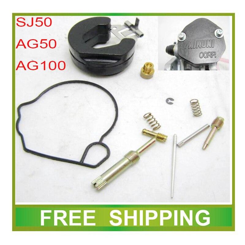Mikuni AG100 AG50 ZZ50 V100 50cc, kits de carburador de motocicleta, herramientas de reparación, junta de chorro, válvula de aguja de ralentí, envío gratis