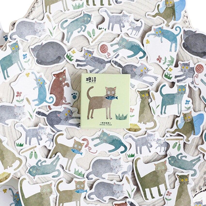 45pcs/box Lovely Cat Disease Label Stickers Diary Decoration Mini DIY Scarpbooking Sticker Stationery