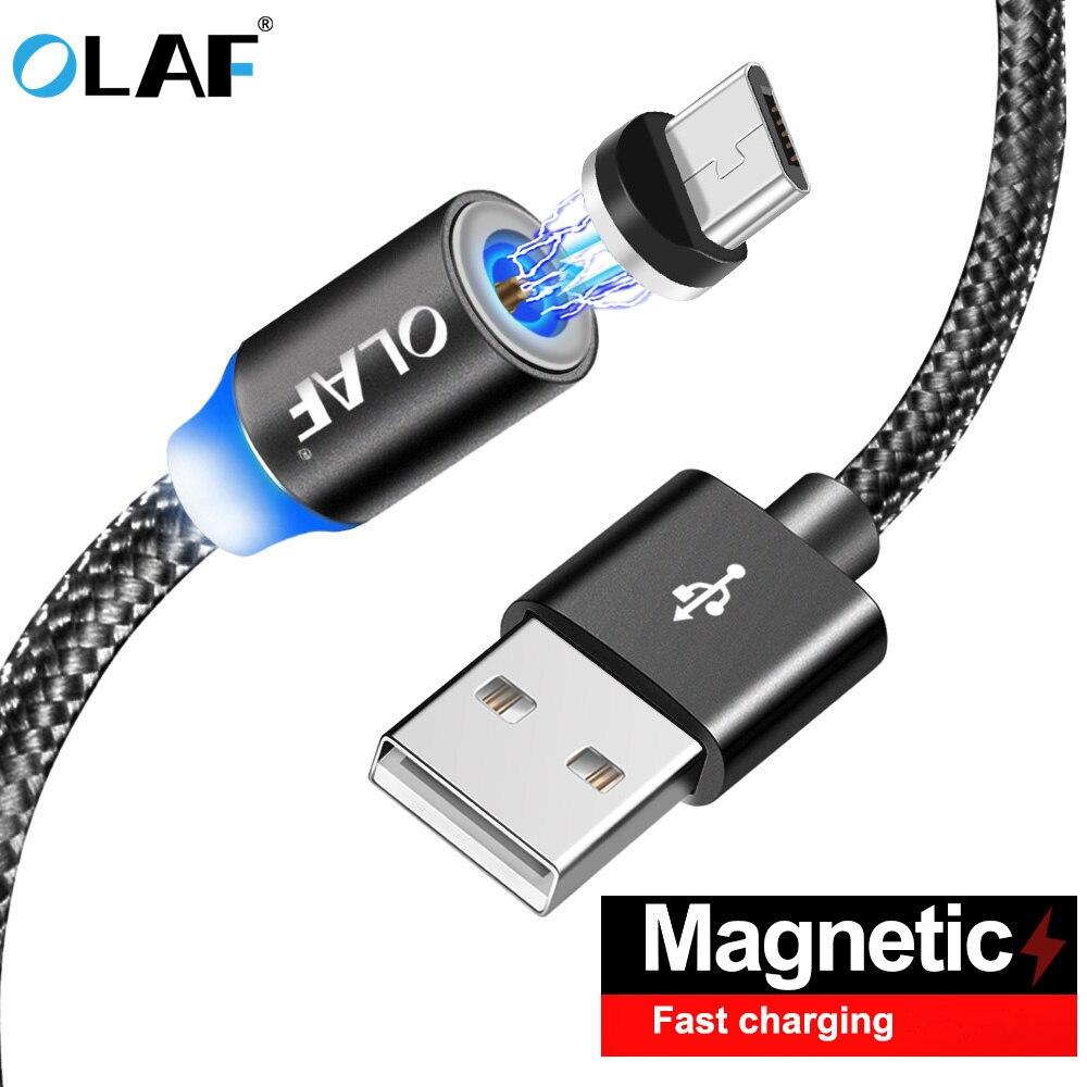 Câble magnétique Olaf en Nylon tressé Micro câble magnétique USB pour Xiaomi câble chargeur de données pour Samsung S8 S9 téléphone portable Android