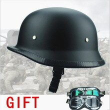 ¡Envío gratis! gafas de piloto de motociclista Chopper estilo WWII negro alemán motocicleta medio casco nuevo