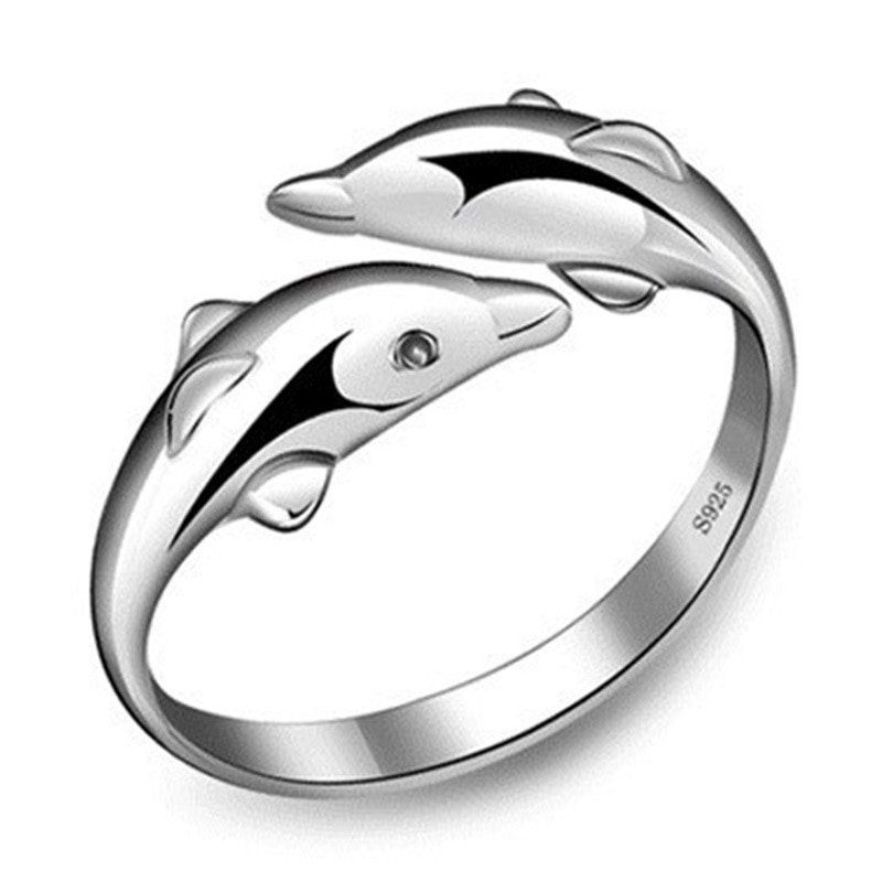 Anillos de plata de ley 100% 925 con diseño de delfín y animal para niñas, joyería abierta para mujer, anillos de fiesta sin desvanecimiento, envío directo