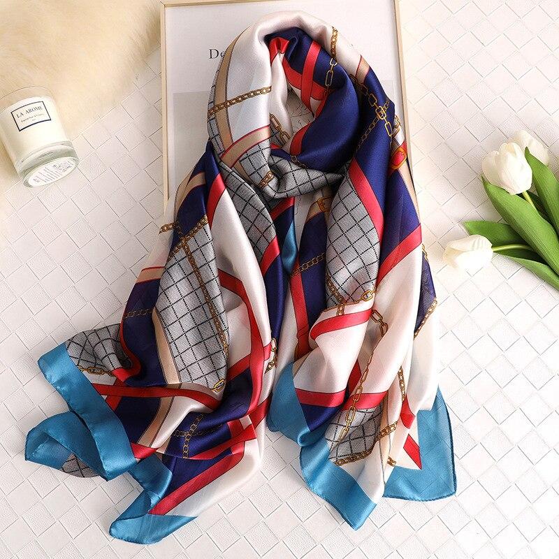 Fashion Luxury Brand Silk Scarf Women Printing Flower Wraps Beach Shawls Soft Plaid Scarf Ladies Scarves Bandana
